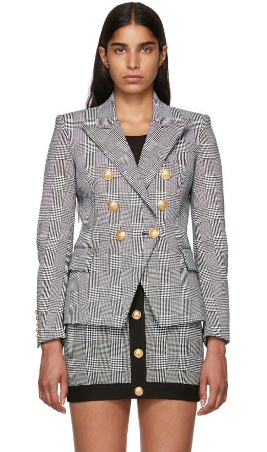 Balmain - Black And White Six Button Blazer