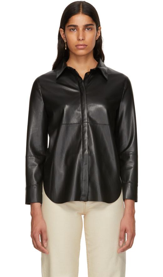 Nanushka - Black Vegan Leather Naum Shirt