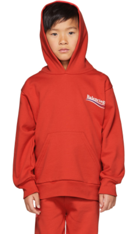 Balenciaga Kids - Red Campaign Logo Hoodie