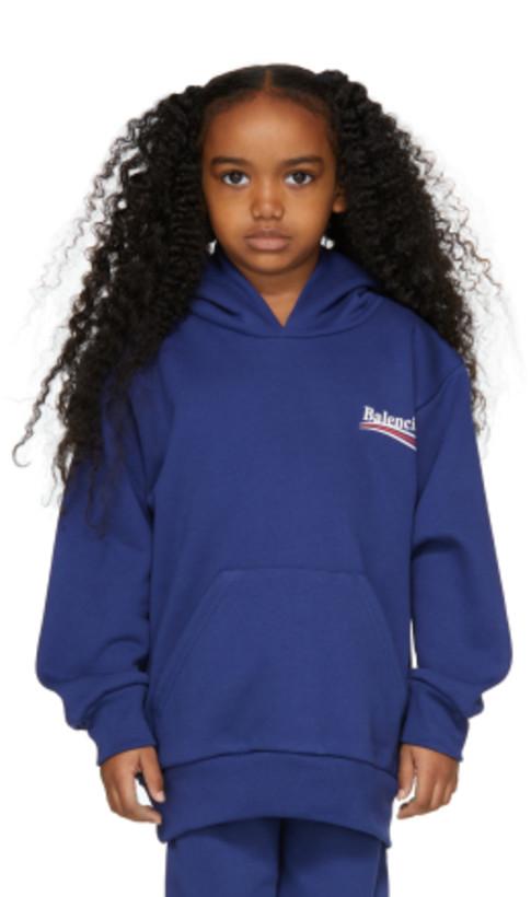 Balenciaga Kids - Blue Campaign Logo Hoodie