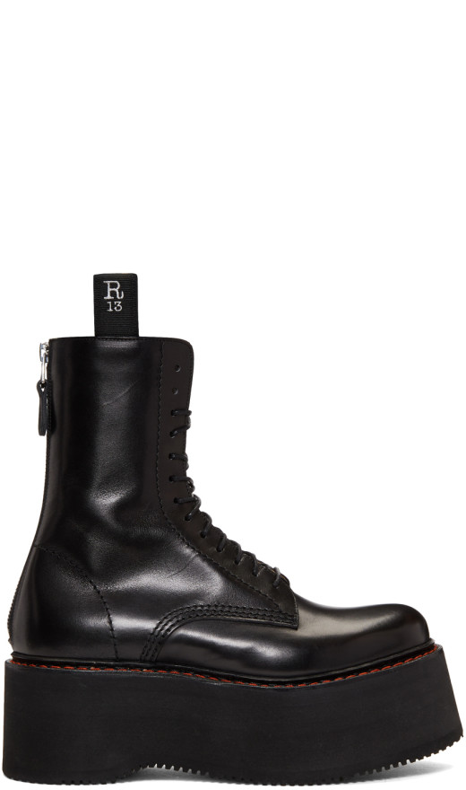 R13 - Black Three Stack Platform Lace Up Boots