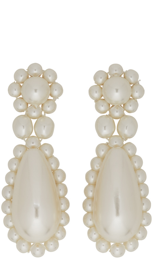 Simone Rocha - White Pearl Drop Earrings