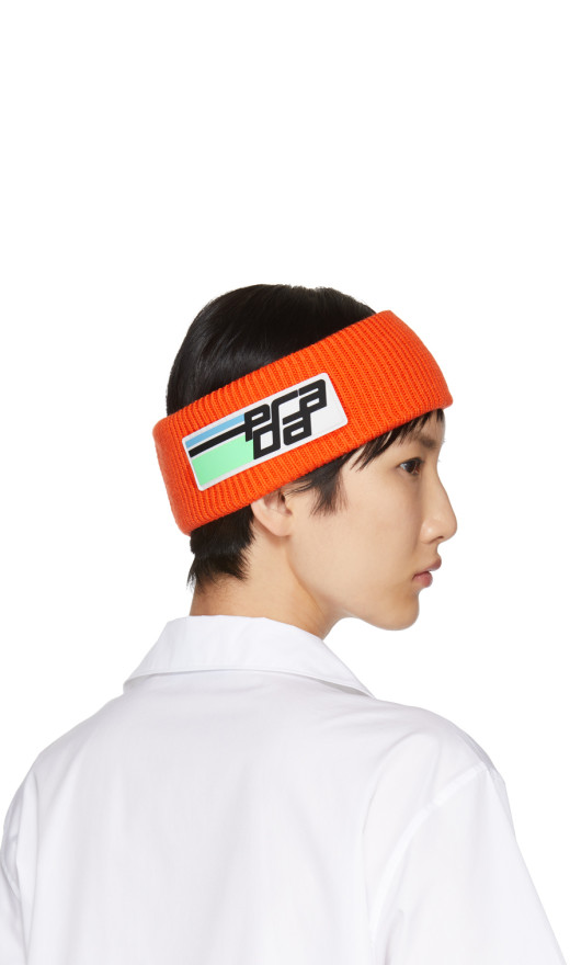 Prada - Orange Wool Logo Headband