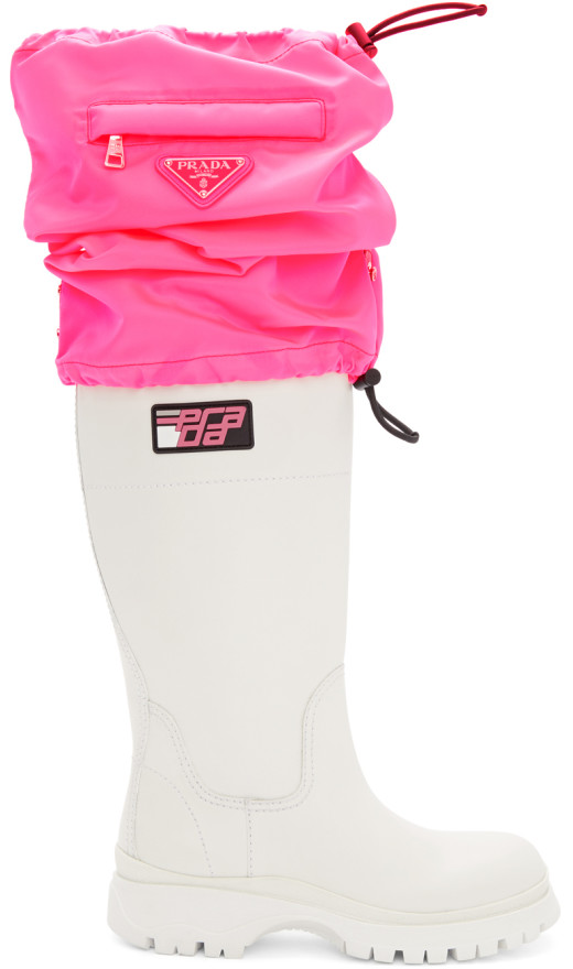 Prada - White And Pink Covered Tall Boots