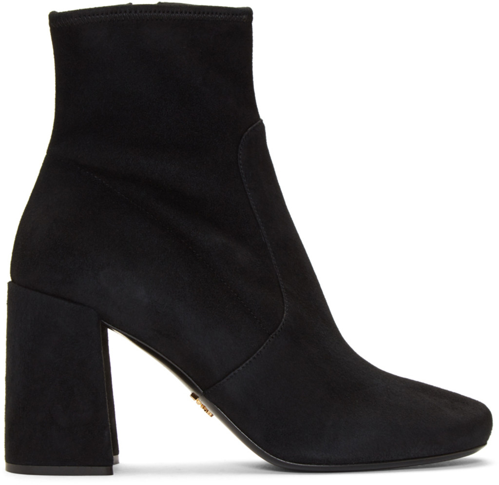 Boots for Women, Booties On Sale in Outlet, Ebony, Suede leather, 2017, 6 7.5 Prada