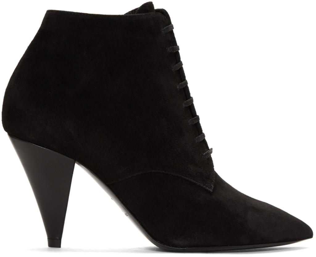 Palm Angels Black Suede Loulou Heeled Boots 1pR9X2LNb