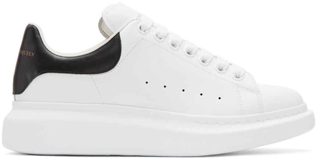 Alexander McQueen White & Black Studded Straps Oversized Sneakers
