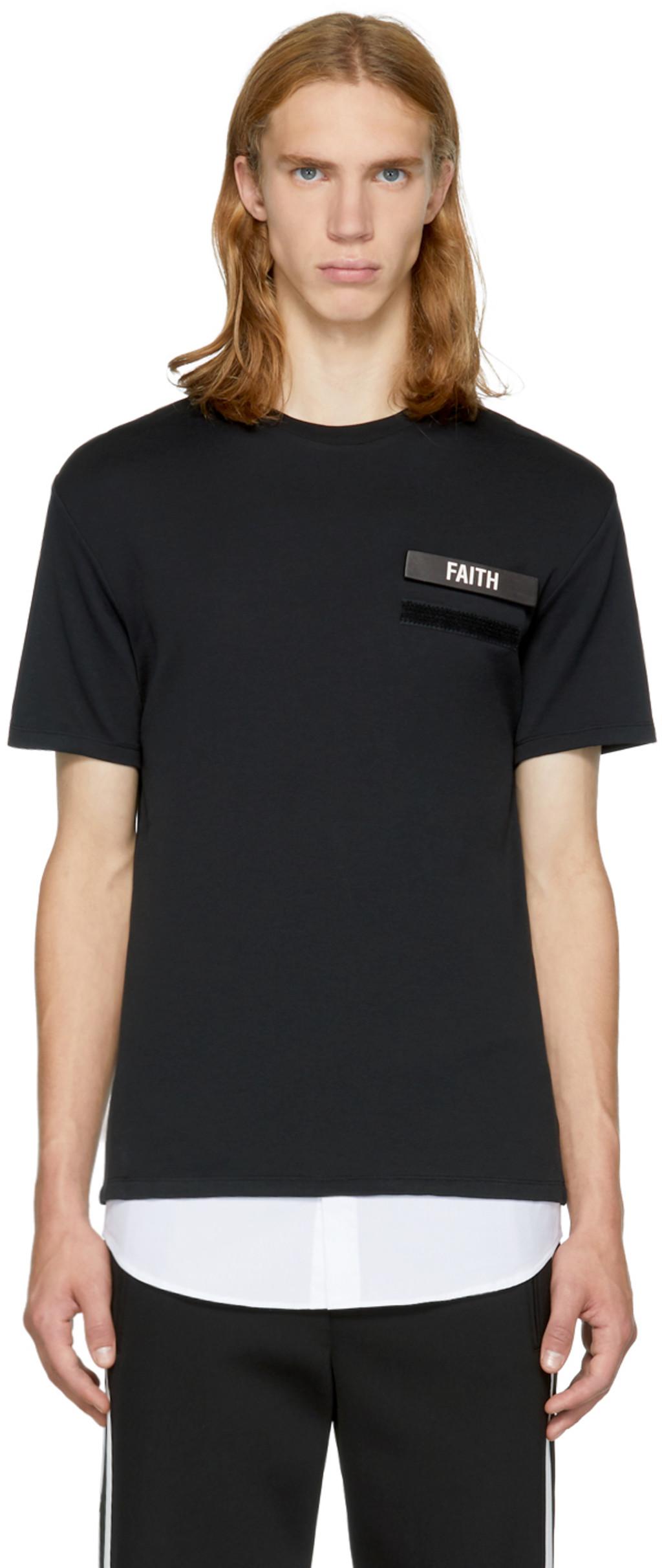Black Iconic Pierced Off Side T-Shirt Neil Barrett