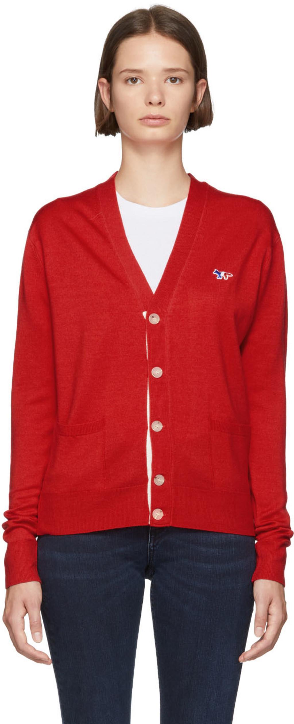 Maison Kitsun For Women Fw18 Collection Ssense Zipper Hoodie Polos Red