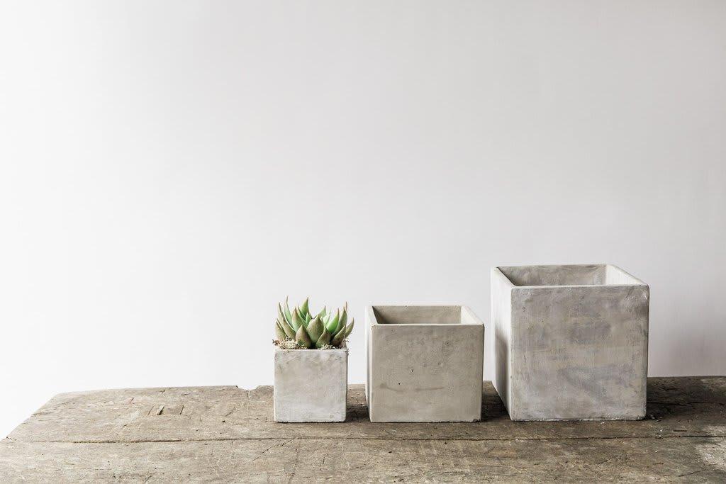 Medium Square Concrete Plant Pot (13cm w x 12.5cm h)