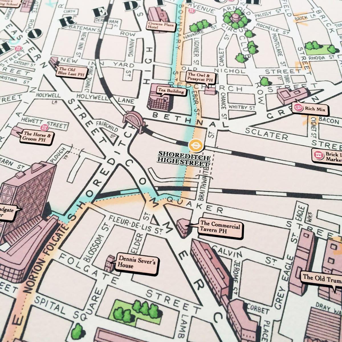 Trouva London Borough Of Shoreditch Spitalfields Map