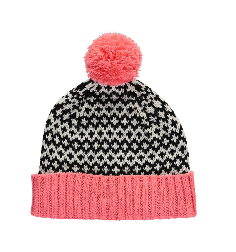 df43d6743f9fa Trouva  Coral and Black Graphic Beanie Hat