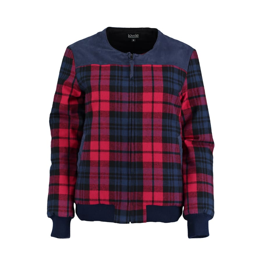 a03213bad Red Check Quilted Bomber Jacket