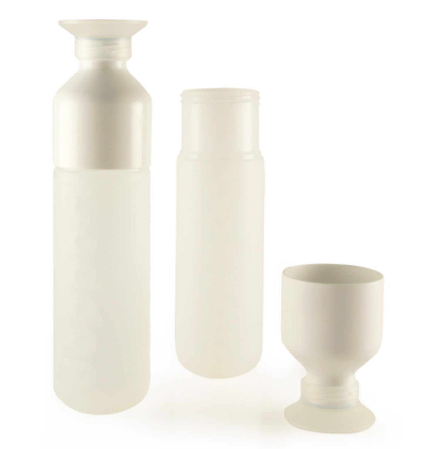 Dopper Responsibly And Sustainably Produced Re-fillable Pure White Water Bottle With Integral Cup