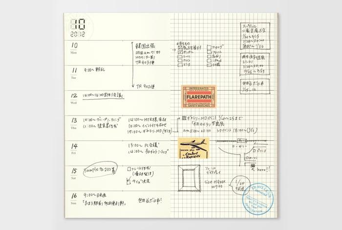 Traveler's Company Traveler's Notebook Refill 019 Free Diary Weekly Memo Regular Size