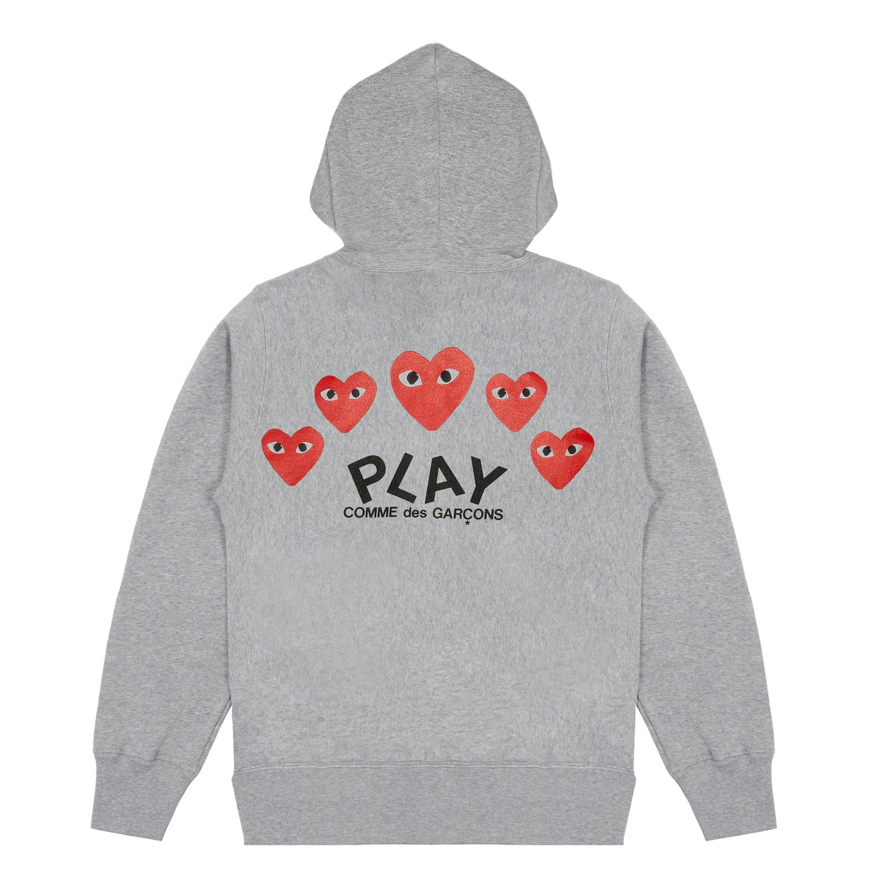 Comme Des Garcons Play Grey PLAY Printed Heart Zip Through Hoodie