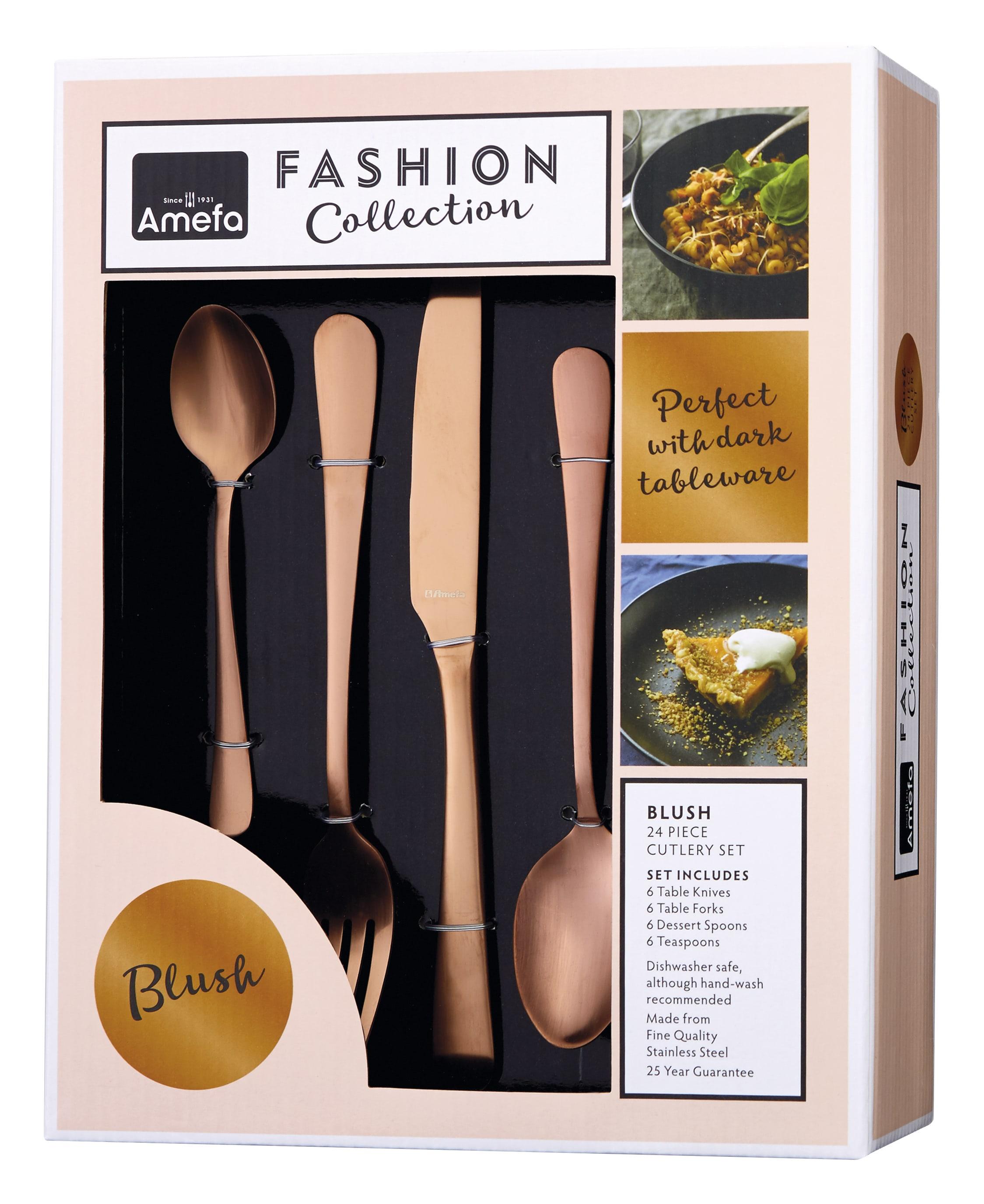 Amefa Blush Copper 24 Piece Cutlery Set