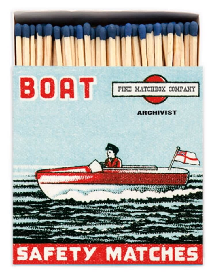 Archivist Long Luxury Matches In A Square Box with a Speedboat on the front