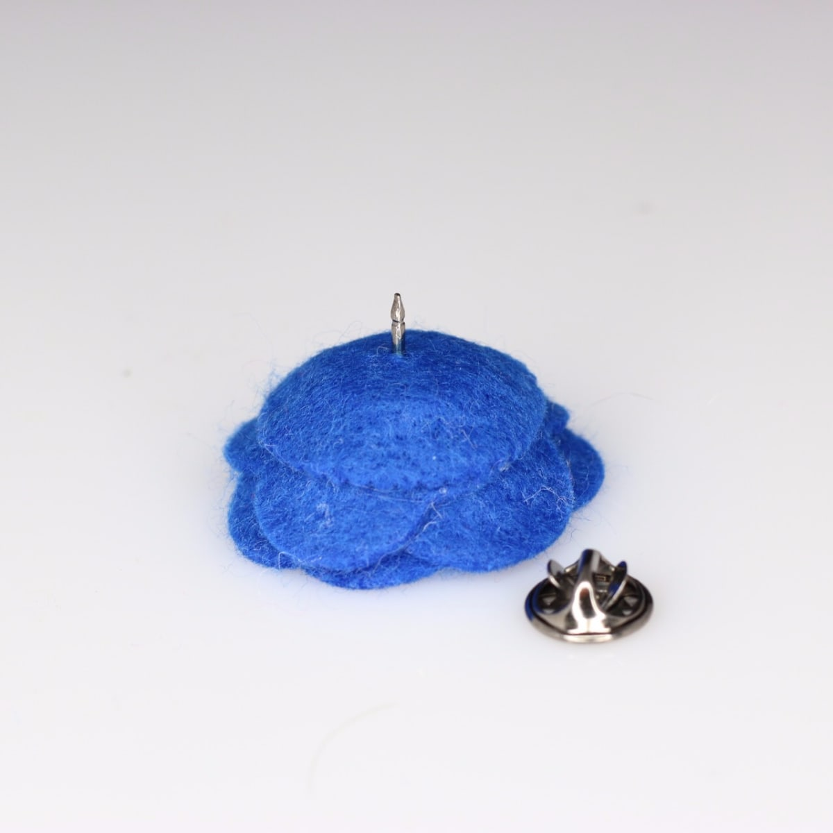 Woven Menswear Royal Blue Felt Flower Lapel Pin