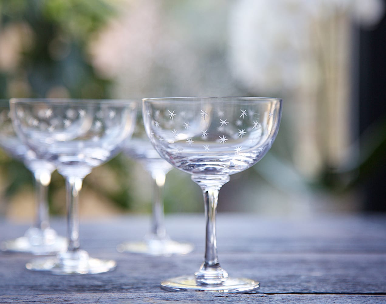 The Vintage List Set Of 6 Stars Vintage Champagne Saucer Glasses