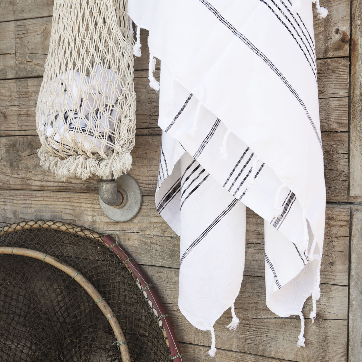 Meraki Large White Hamman Towel With Black Stripes