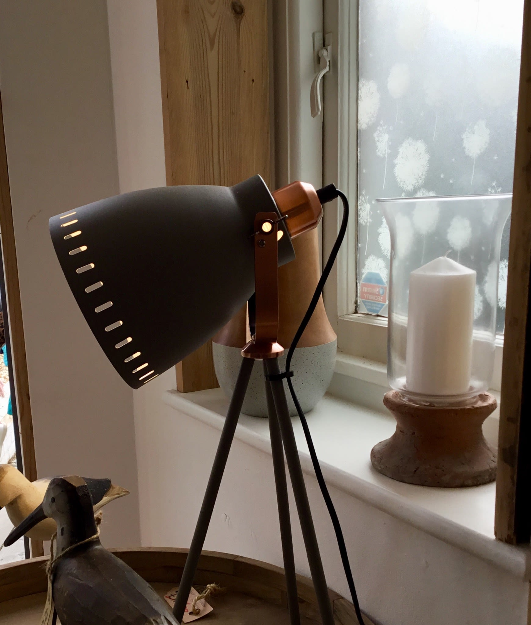 Present Time Tripod Table Lamp With Copper Detailing