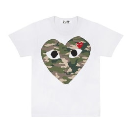 Comme Des Garcons Play White PLAY Camo Heart Short Sleeve T-Shirt
