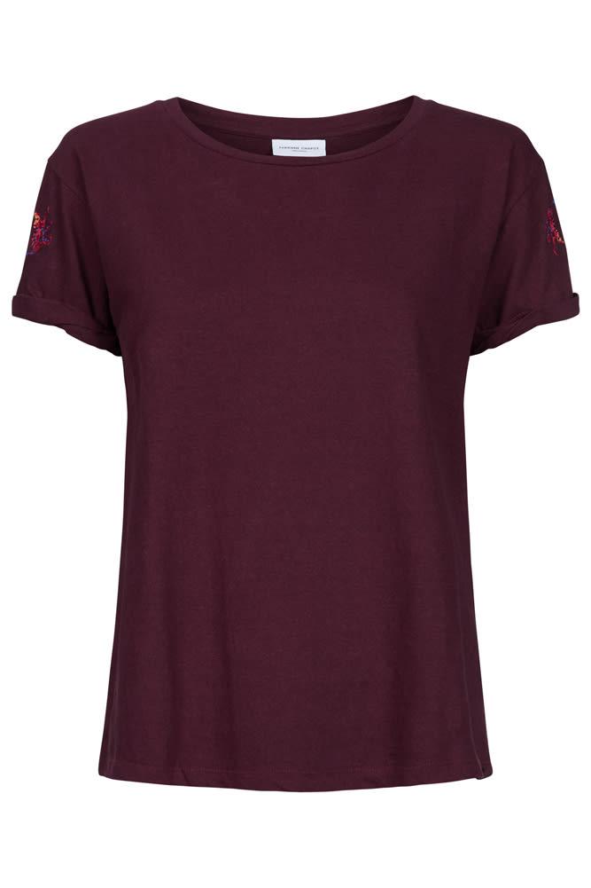 Fabienne Chapot Burgundy Monkey Motifs Heather T Shirt