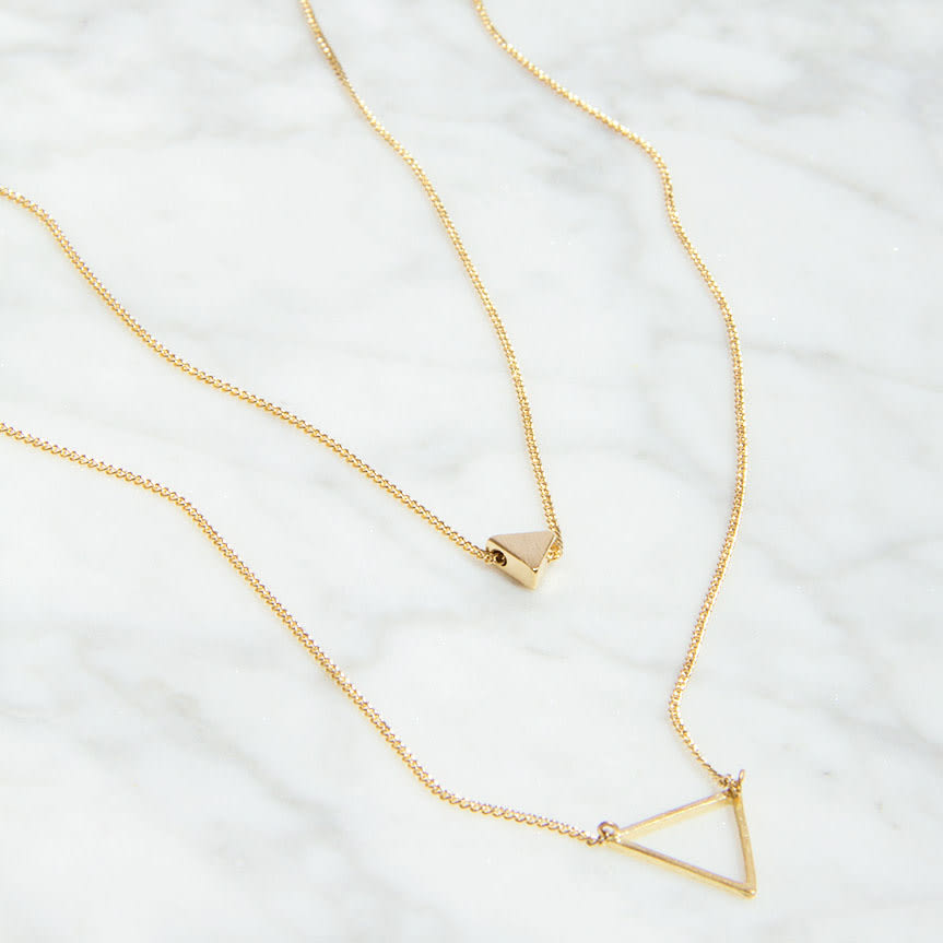Sienna With Love Gold Double Triangle Necklace