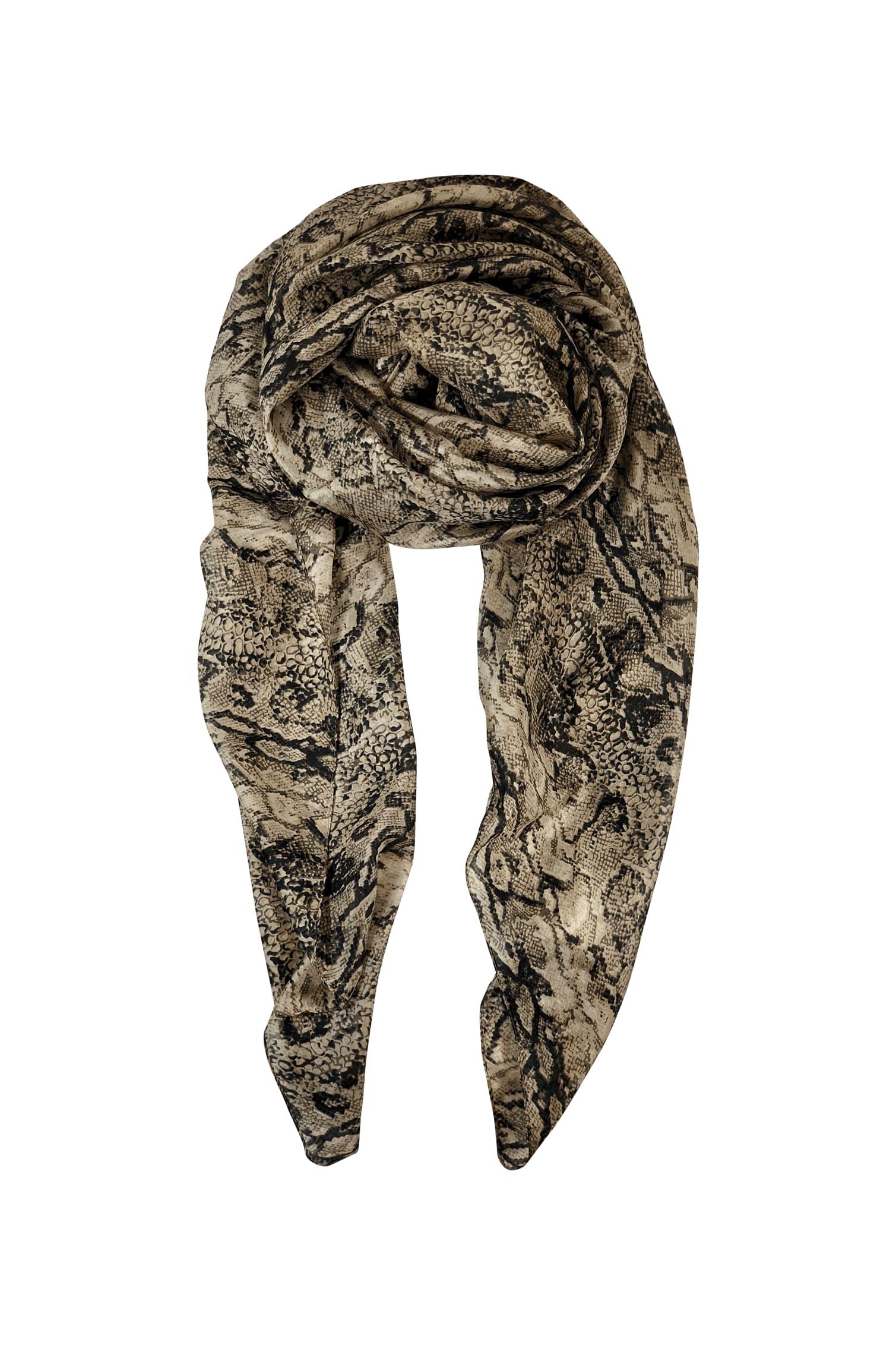 Black Colour Tabby Natural Snake Print Silk Scarf