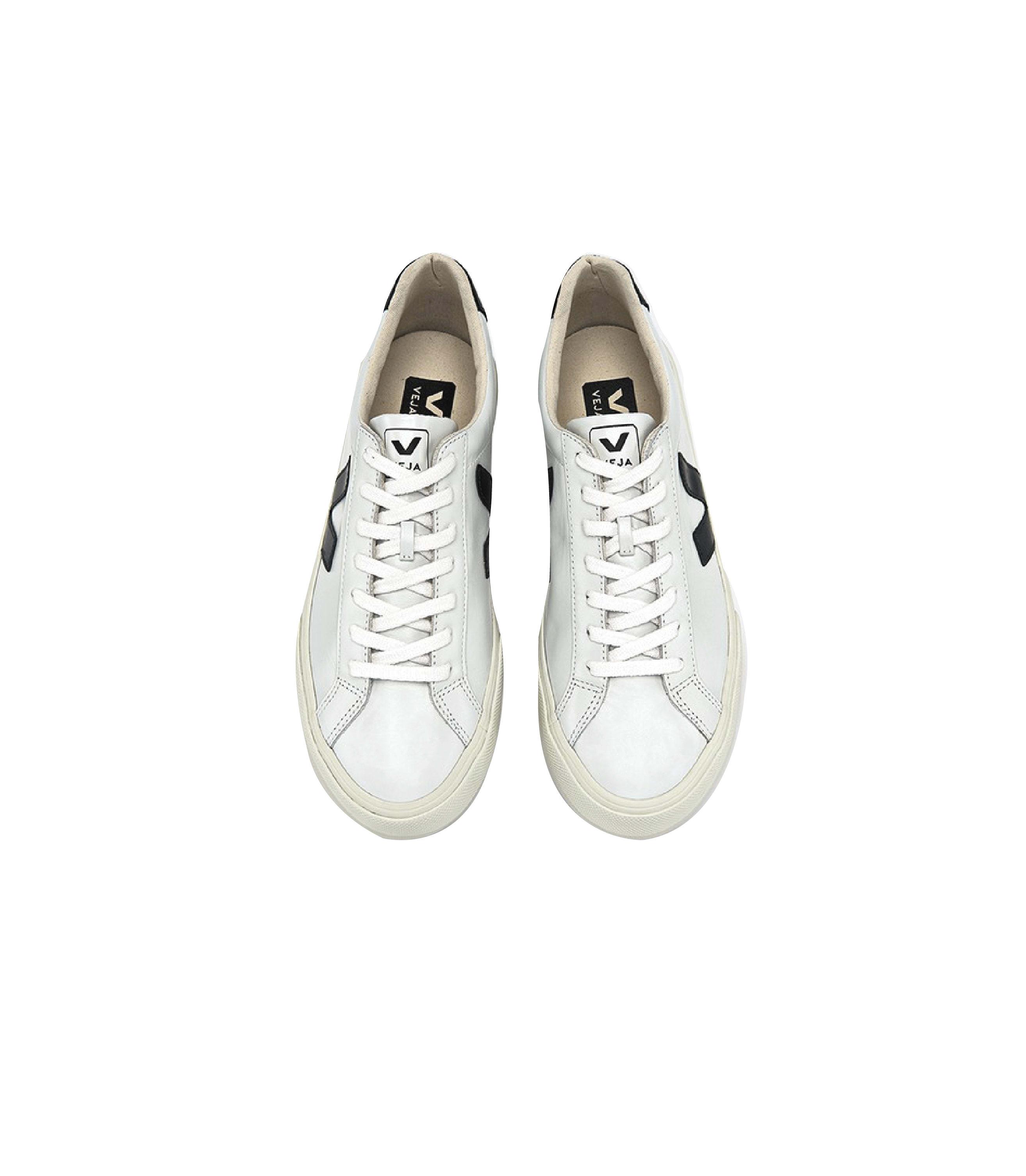 Veja White Black Esplar Leather Sneakers