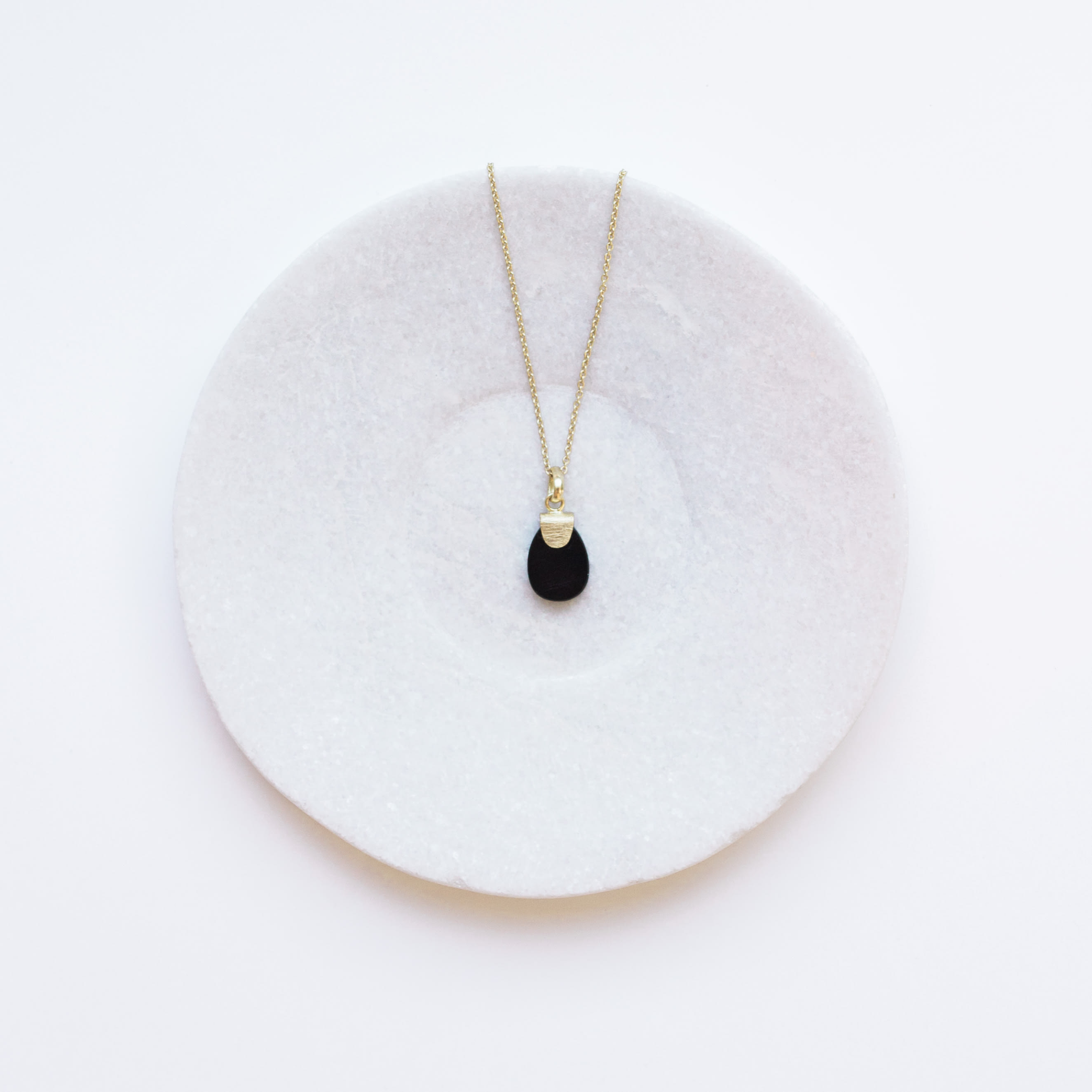 Dassie Artisan Anvi Gold Pendant Necklace - Black Oynx