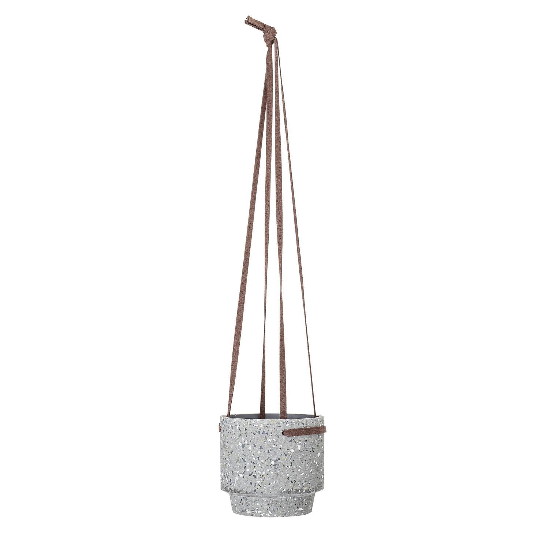 Bloomingville Medium Light Grey Terrazzo Hanging Planter