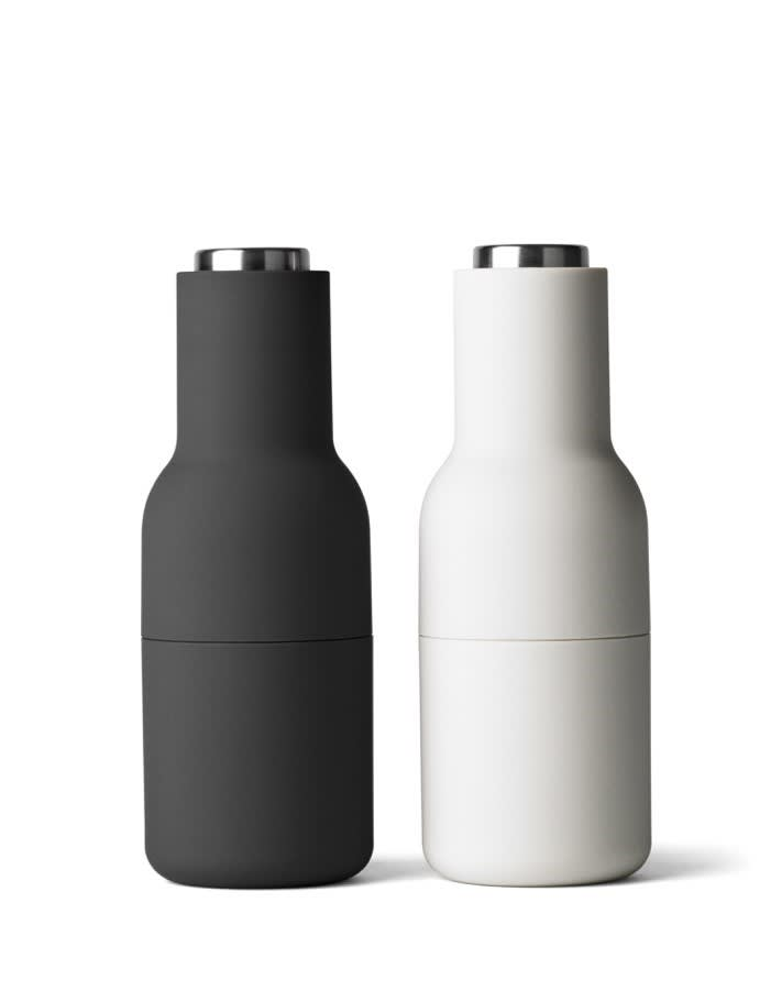 Menu Ash & Carbon BOTTLE GRINDERS with Stainless Steel Tops (set of 2)