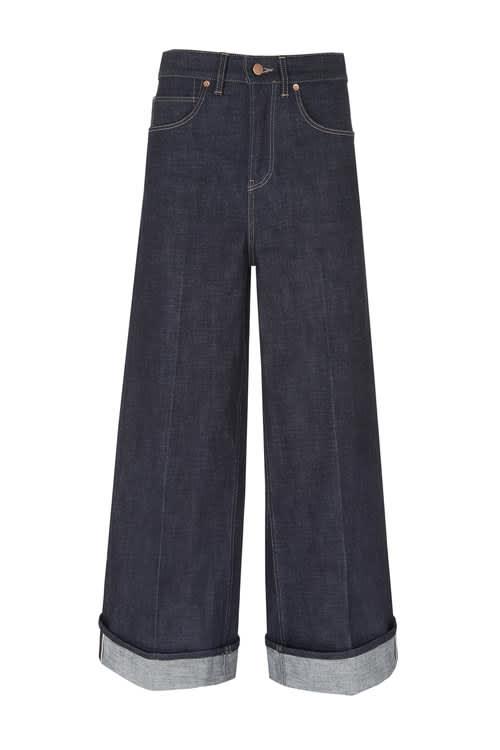 King & Tuckfield High-Rise Wide-Leg Japanese Selvedge Jeans