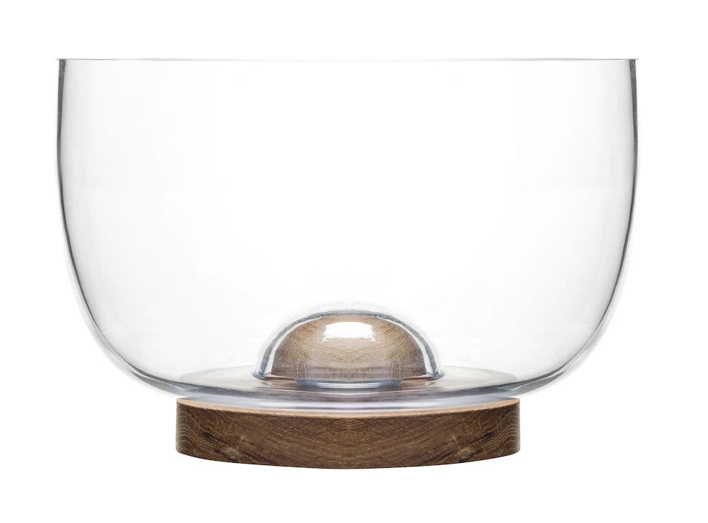 Sagaform Oak Base Glass Bowl