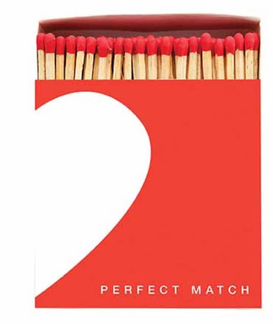 Archivist Perfect Match Luxury Matches In A Square Box with Half a Heart On The Front