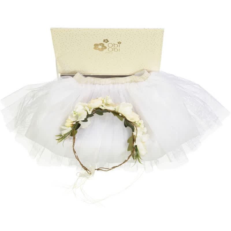 OBI OBI White Flowers Crown and Tutu Gift Set