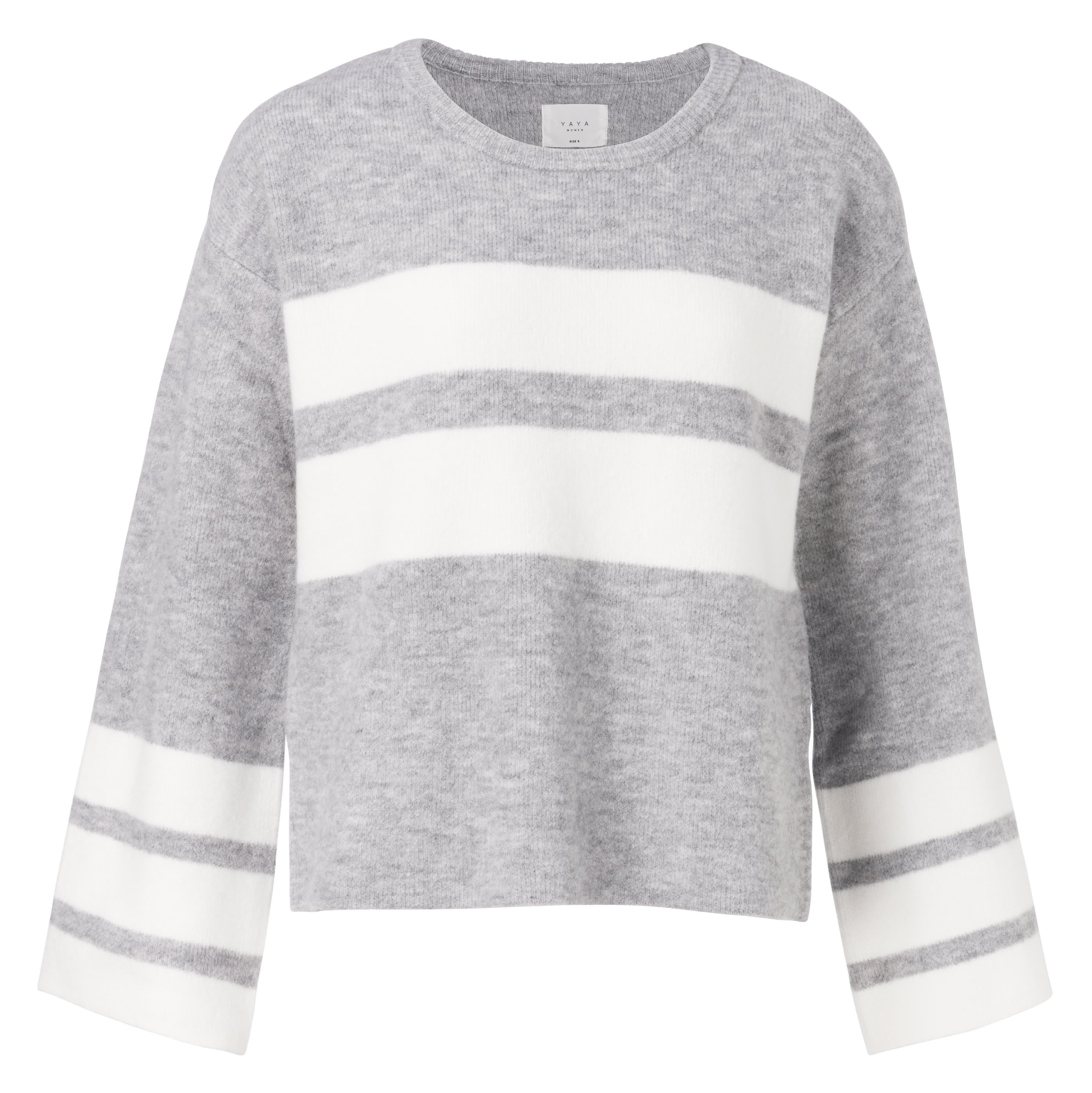 Yaya Grey & Winter White Kimono Sleeves Sweater