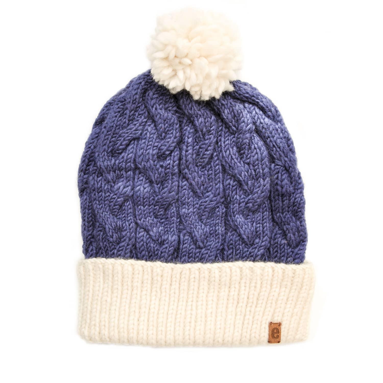 Egos Copenhagen Dark Blue Handmade 100% Merino Wool Cable Knit Hat