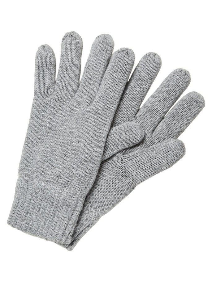 Selected Homme Grey New Leth Cotton Gloves