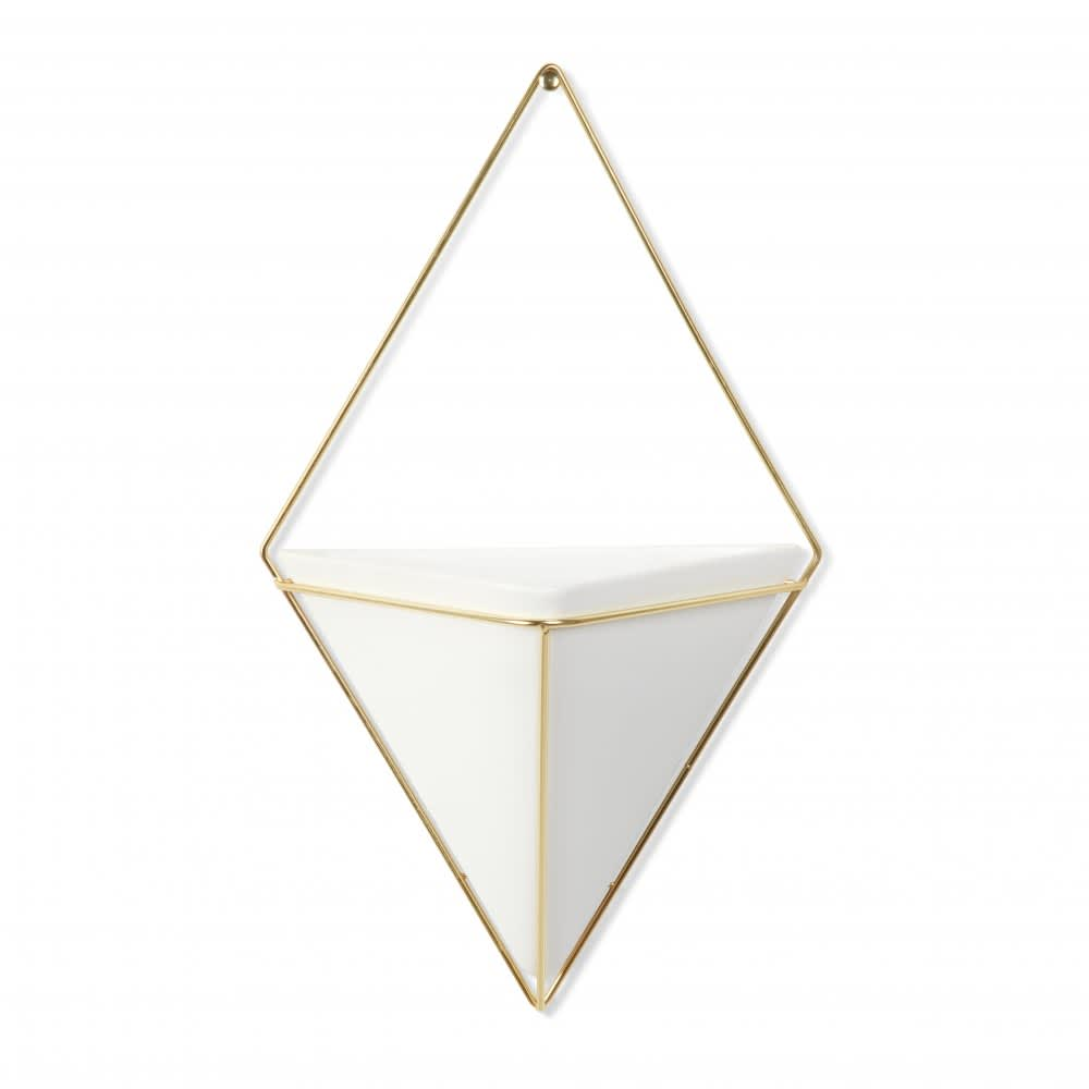 Umbra Large White & Brass Trigg Wall Organiser Container