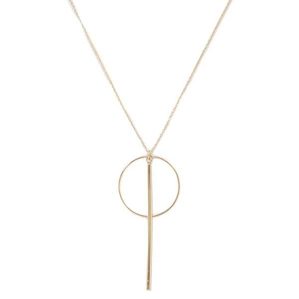 Big Metal London Long Gold Triana Circle Necklace