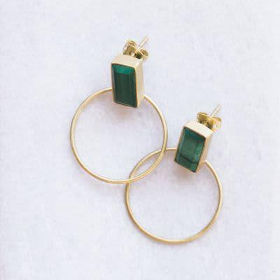 Dassie Artisan Malachite Baalee Gold Earrings