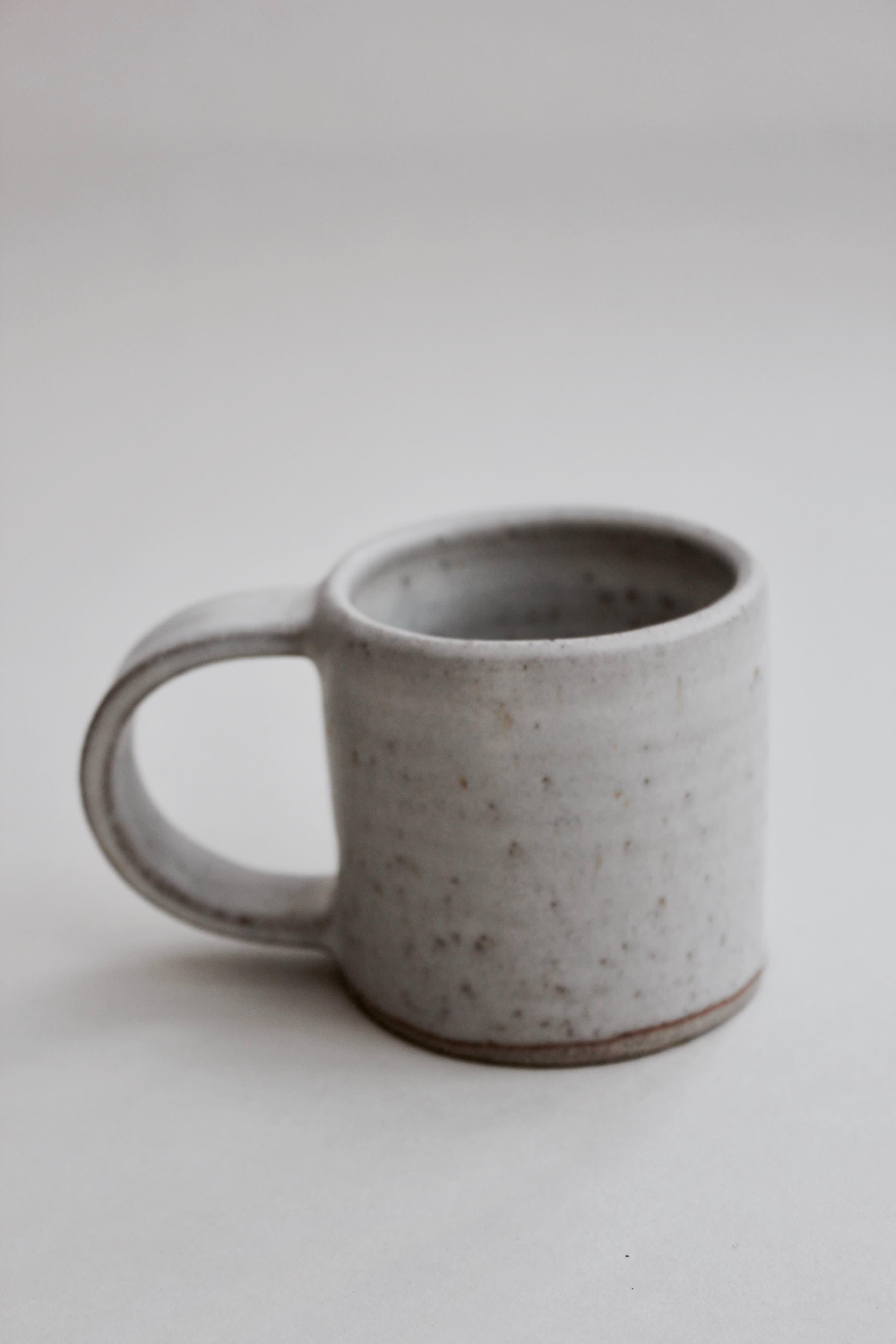 Medium Size Stoney White Handmade Ceramic Mug