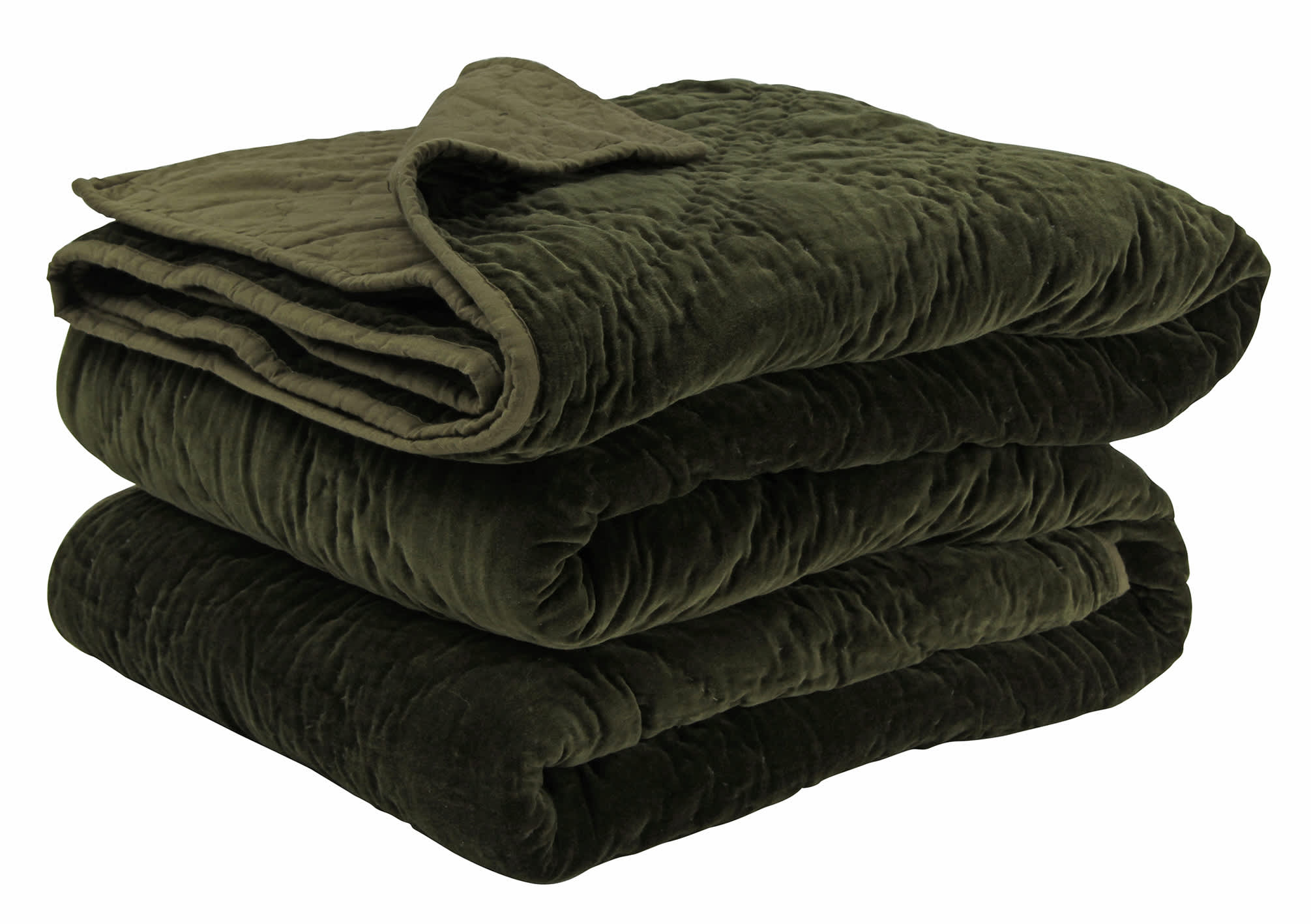 Wallace Cotton Large Olive Plush Velvet Bedspread