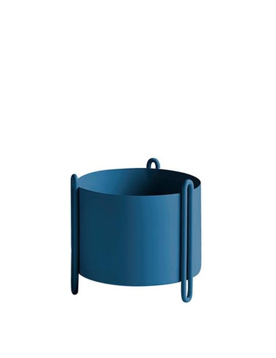 Woud Small Blue Pidestall Flowerpot