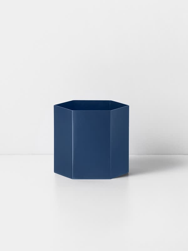Ferm Living Large Blue Hexagon Pot