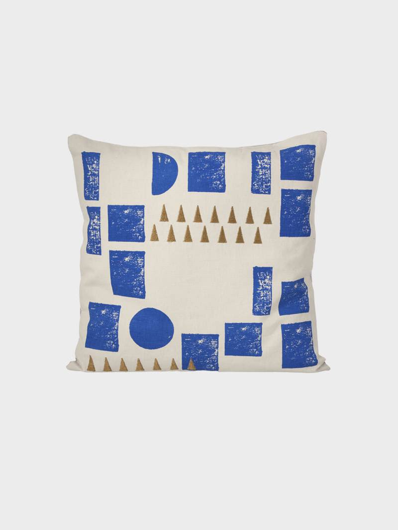 Ferm Living Mint Organic Cotton Hand Printed Block Cushion