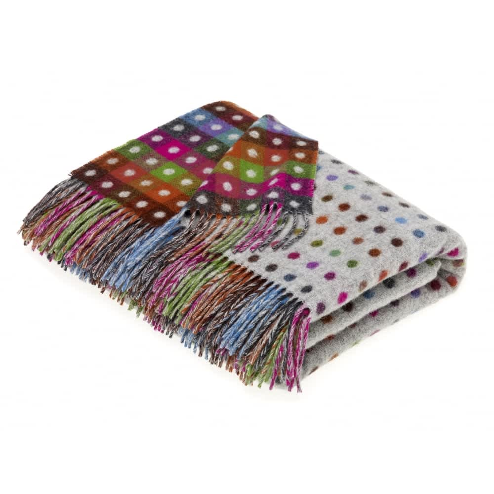 Bronte by Moon Grey Multi Spot Check Lambswool Throw